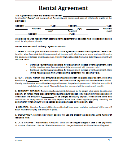 Rental Agreement Form Design