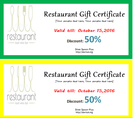 Restaurant Gift Certificate Template For Word Document Hub