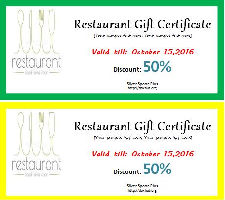 restaurant gift certificate template for word document hub