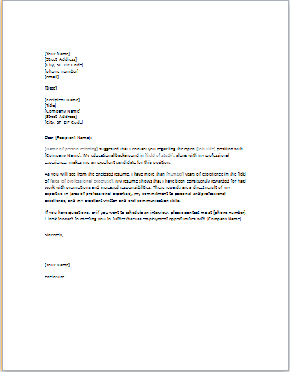 11 professional and business cover letter templates for I was referred to you by cover letter
