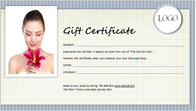 Spa Gift Certificate Template For Ms
