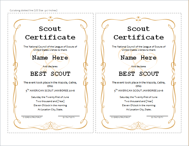 best scout certificate template for ms word