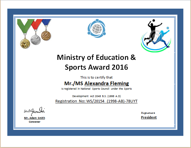 Sports Certificate Template for MS WORD – Sport Certificate Templates for Word