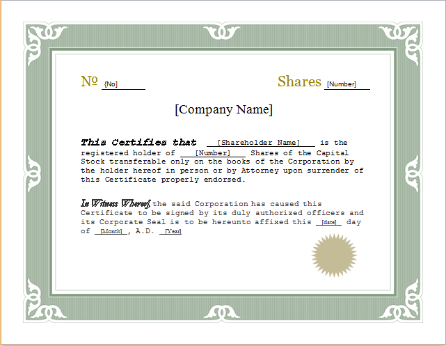 Customizable Certificate Template for WORD – Shareholder Certificate Template