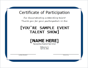 Excellent performance certificate document hub for Talent show certificate template