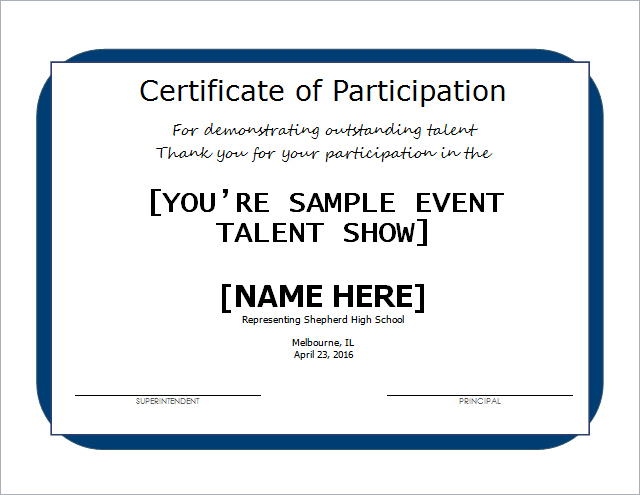Talent show certificate template for word document hub for Talent show certificate template