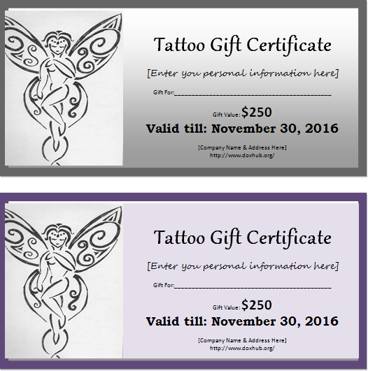 Tattoo Gift Certificate Template for MS WORD | Document Hub