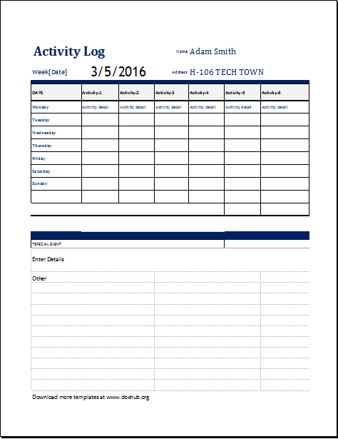 activity log template for ms excel and openoffice document hub