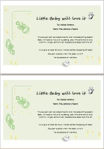 babysitter gift certificate