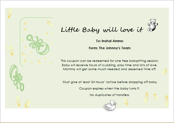 Babysitter gift certificate template for word document hub for Babysitting gift certificate template