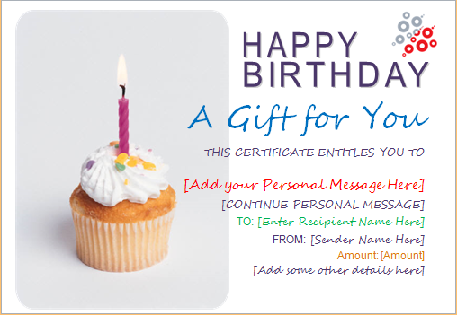 Birthday Gift Certificate Template for WORD | Document Hub