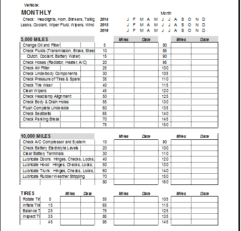 vehicle maintenance log book