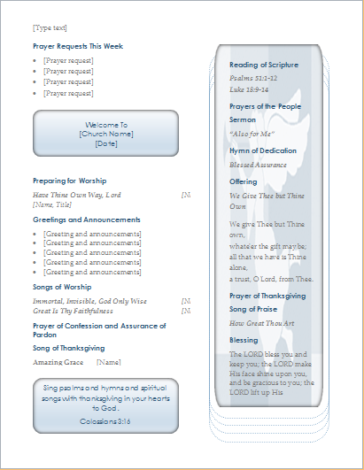 Church Program Template For Ms Word And Writer Document Hub
