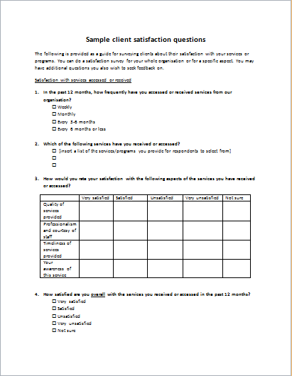 client satisfaction survey form template word