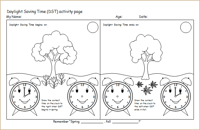 daylight saving time activity page