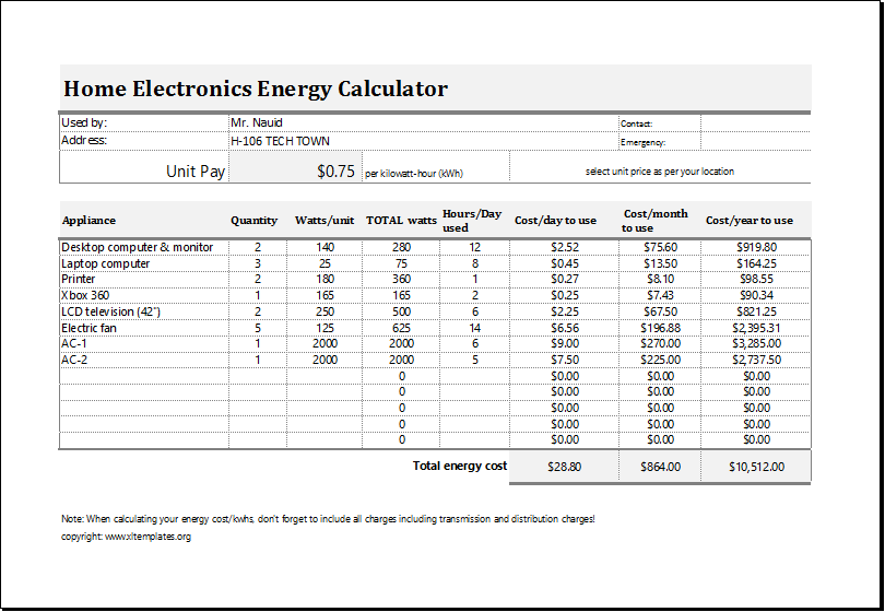Household Electricity Usage Calculator 28 Best Energy Calc Pro Liance