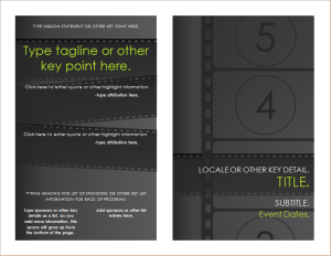 Marketing brochures document hub for Film festival brochure template