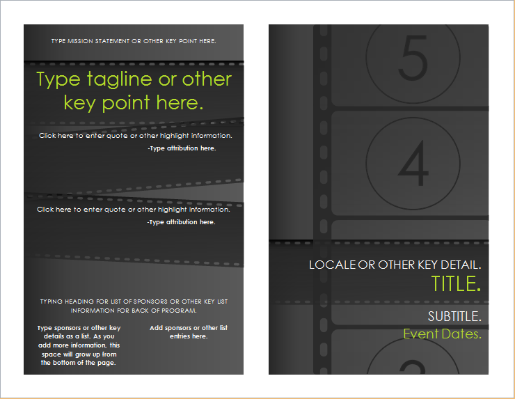 Film festival brochure template for word document hub for Film festival brochure template