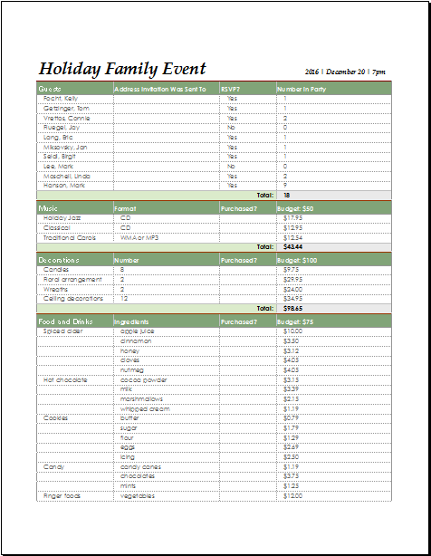 holiday family event checklist for excel