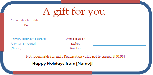 Holiday gift certificate template for word document hub holiday gift certificate yadclub Image collections