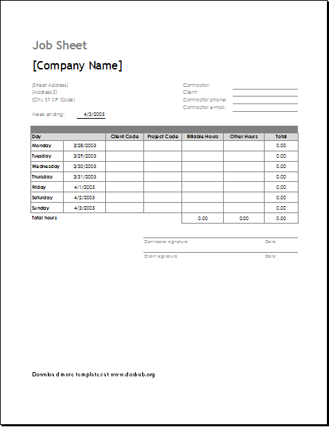 Job Sheet Template for MS EXCEL OpenOffice – Job Sheet Format Excel
