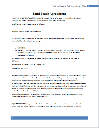 Land Lease Agreement  Lease Document Template