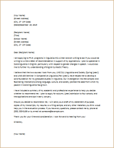 letter requesting graduate school recommendation