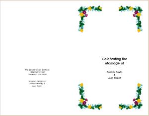marriage celebration brochure