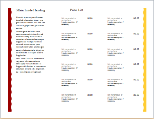 product sale brochure with price list