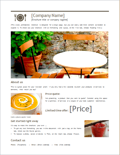 product sale brochure