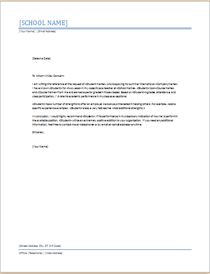 Reference Letter For A Student Example