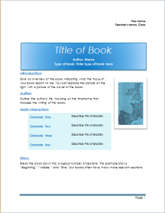 school book report template