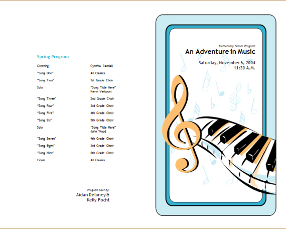 school concert event brochure