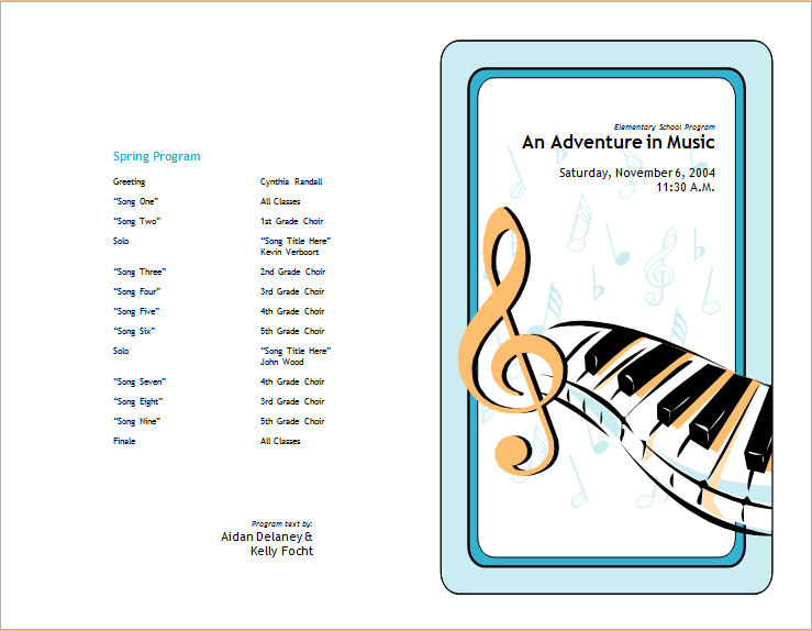 school concert event brochure template for word