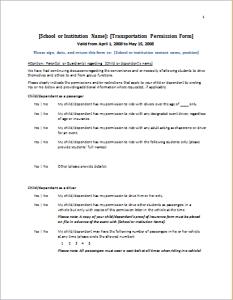 student travel permission form