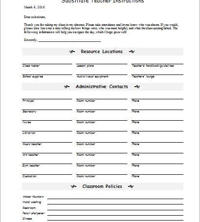 substitute teacher instruction form