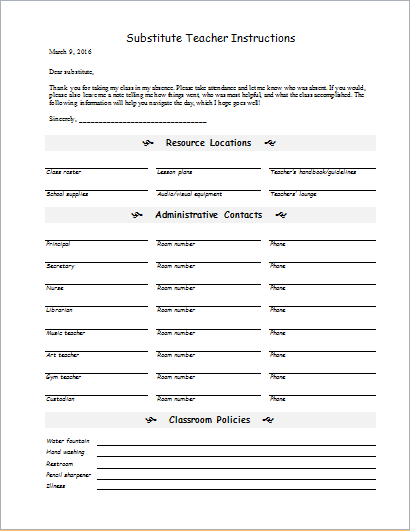 substitute teacher instruction form