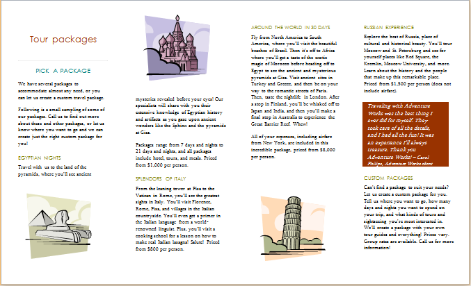 tour services brochure