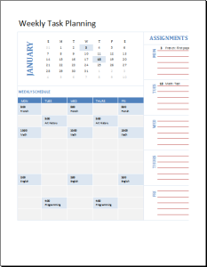 student weekly planning calendar