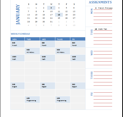 student weekly planning calendar