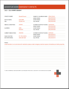 youth sports emergency contact form