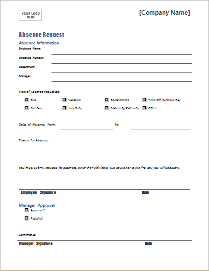 employee absence request form template for word document hub. Black Bedroom Furniture Sets. Home Design Ideas