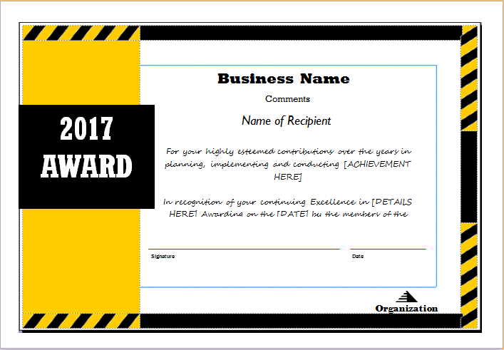 Award Certificate Sample Template for MS WORD – Award Certificate