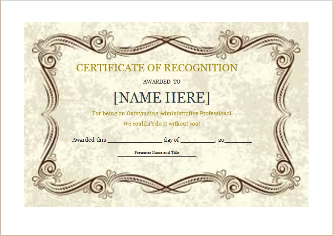 Certificate of Recognition Template for WORD – Certificates of Recognition Templates