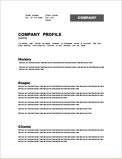 Customizable Company Profile Template for WORD – Sample Business Profile Template