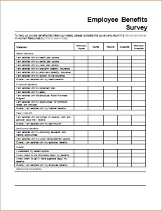 Employee benefits survey form