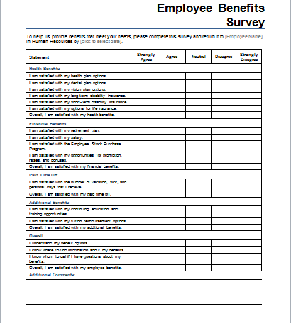 Document templates part 3 for Employee satisfaction survey template word