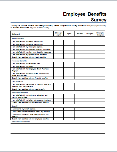 employee benefits survey form template for word