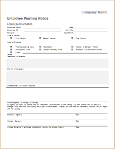 Employee Warning Notice Template | Document Hub