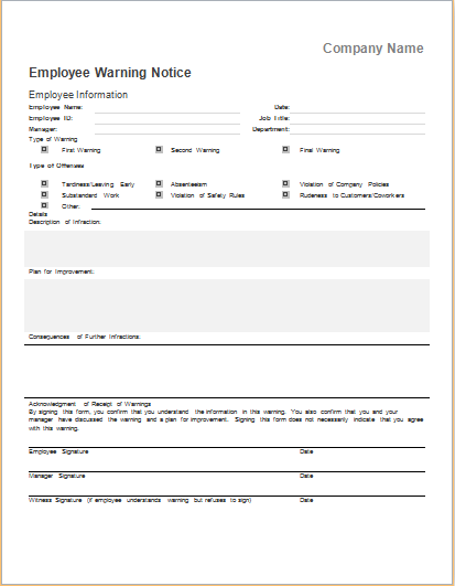 employee warning notice template for ms word